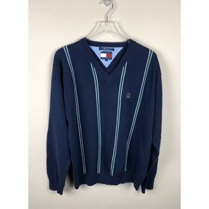 Tommy Hilfiger V Neck Sweater Lion Crest Vtg 90's